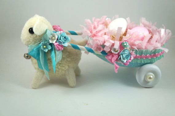 Easter Lamb Pulling a Darling Cart of Eggs by SparkleLovesWhimsey