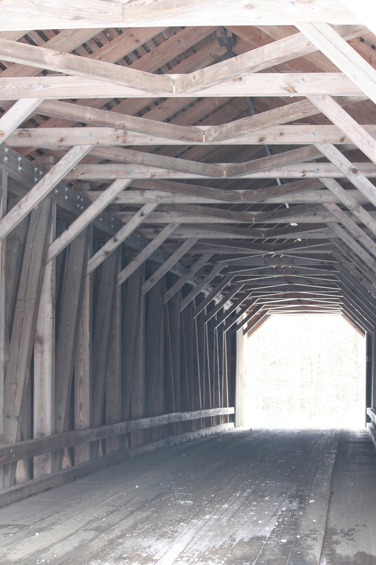 Looking through Low's Covered Bridge, Guilford, Maine.