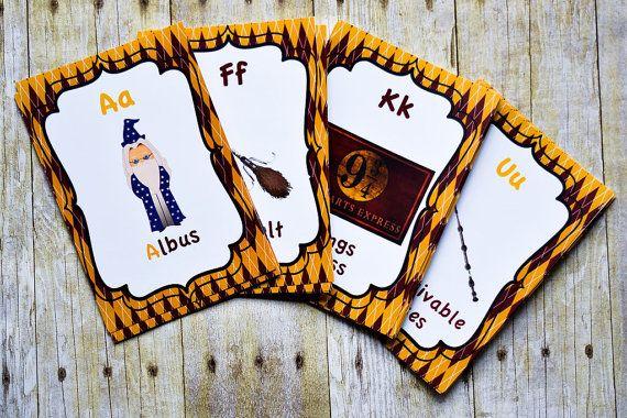 Harry Potter ABC kaarten-Harry Potter thema kwekerij Room Decor, kwekerij-kaart instellen, alfabet kaarten, Harry Potter kwekerij kamer decoratie