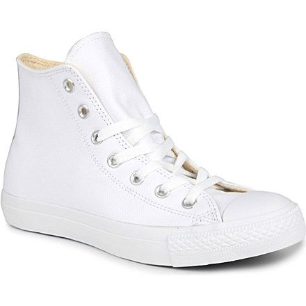 All-White Leather Converse Hi-Tops