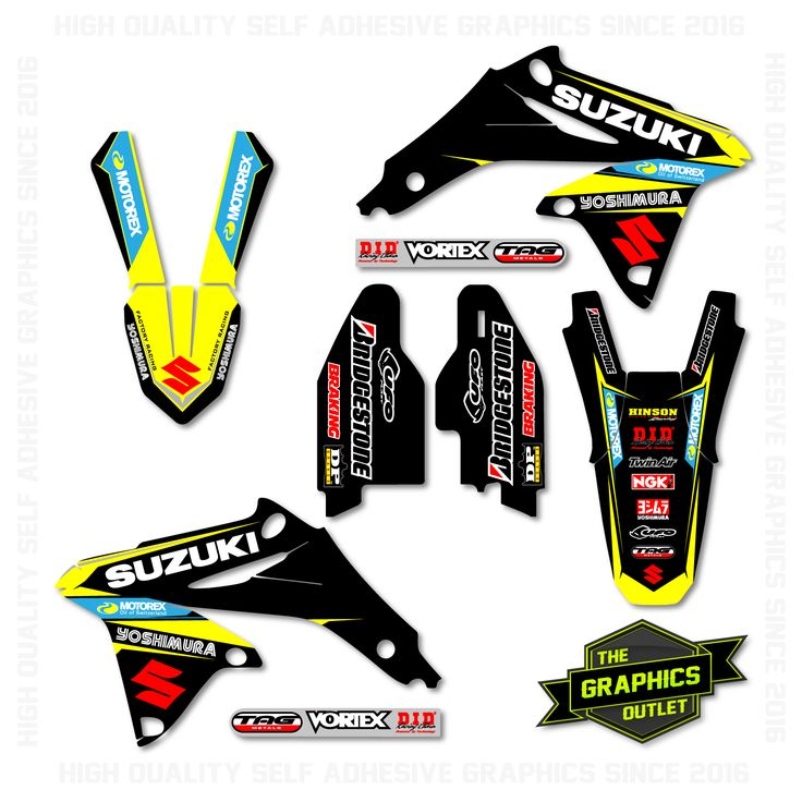 SUZUKI RMZ450 2008-16- MOTOREX / YOSHIMURA FACTORY REPLICA - SPLIT KIT MOTOCROSS GRAPHICS