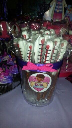 Dr Mcstuffins thermometer chocolate covered pretzels