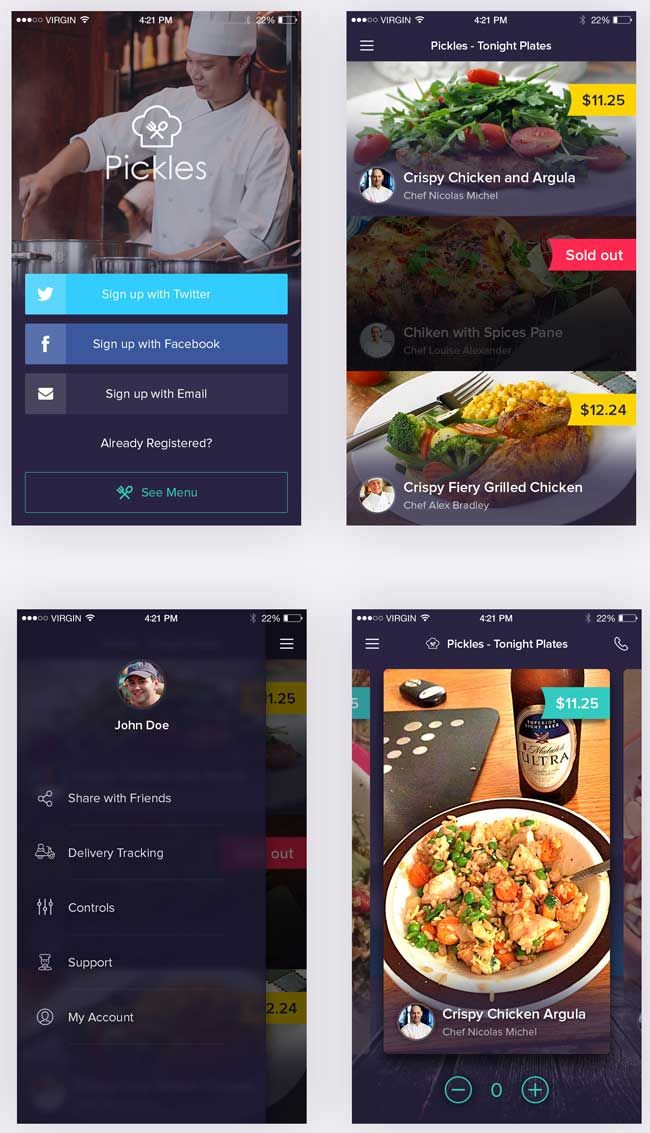 Pickles Restaurant PSD App UI Kit Preview