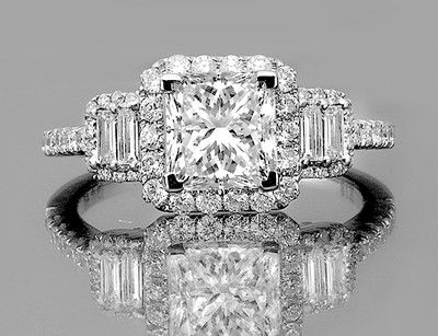 1.40 ctw Certified Princess Cut Diamond Vintage Engagement Ring White Gold 14k, $1,750