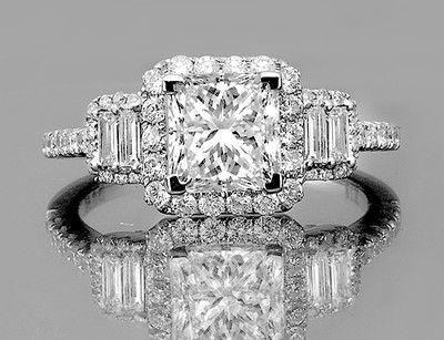1.40 ctw Certified Princess Cut Diamond Vintage Engagement Ring White Gold 14k, $1,750
