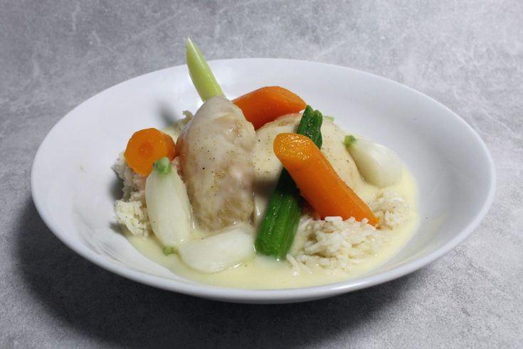 Recette de Poule au pot, riz, sauce suprême par Alain Ducasse