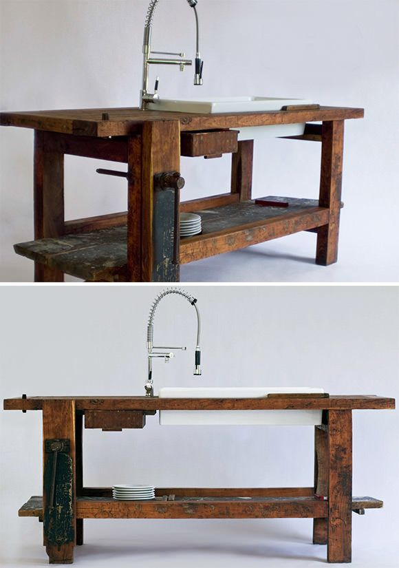 Gorgeous Kitchen worktable and sink made from a vintage carpenter's workbench