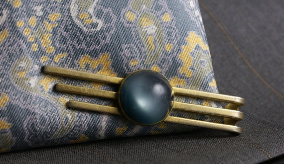 Vintage gold tone Tie Bar with moon blue by ModernRenaissanceMan, $15.00 | See more about Ties, Moon and Bar.