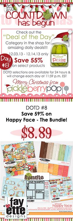 DOTD #8 is up! Save 59% on HAPPY FACE - the Bundle ((yes, I know, that's a weird discount amount *grin*) Grab it quick - this deal is available for 22 more hours!)