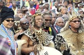 Winnie Madikizela-Mandela, Prince Mangosuthu Buthelezi and President Zuma with King Zwelithini during his wedding at Ondini Sports Complex