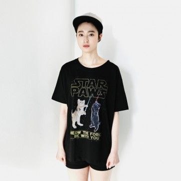 """[Star Paws Tee] A boxy fit #tee, #tshirts featuring a """"STAR PAWS"""" graphic. Round neckline. Short sleeves. Lightweight. #starwars #parody #funny"""