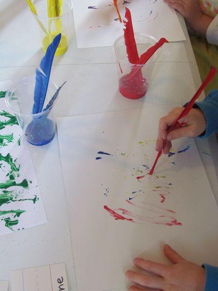 Feather Painting in Preschool by Teach Preschool
