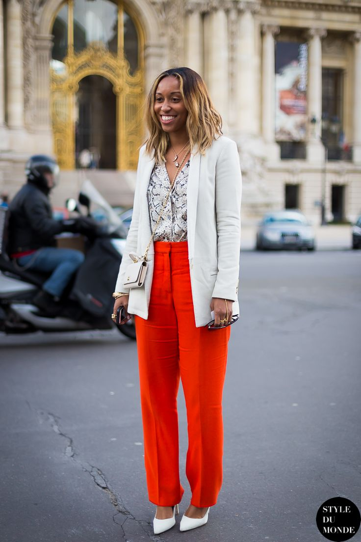 Top ideas for red pants -  Similar Thrifted Black White Top Thrifted Red Pants White Blazer White