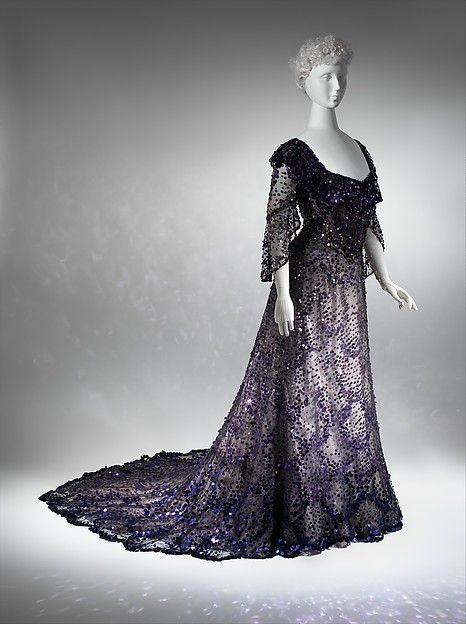 Can you imagine seeing this walk the red carpet?  Stunning! Evening dress Date: 1902 Culture: French Medium: silk, sequins Dimensions: [no dimensions available] Credit Line: Gift of Miss Irene Lewisohn, 1937