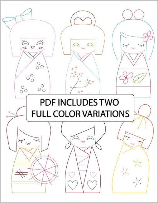 KOKESHI DOLLS - Embroidery Patterns
