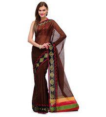Brown Banarasi Chanderi Cotton Saree | Fabroop USA | $37.99 |