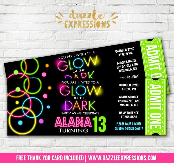 Printable Glow in the Dark Ticket Birthday Invitation | Disco Dance Party | Neon Glow Paint Party Ideas | Roller Skating Party | Teen Birthday | Dance Club Party | Party Decorations  Available! Banners, Favor Tags, Water Bottle Labels, Cupcake Toppers, Signs, Food Labels and more! www.dazzleexpressions.com