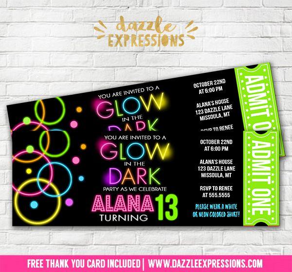 Printable Glow In The Dark Ticket Birthday Invitation