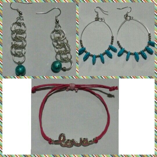 Earings and bracelet.  #blue #pink