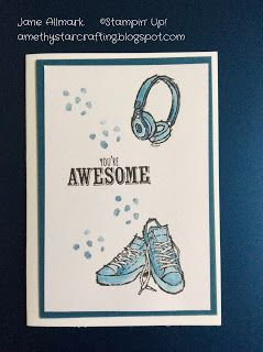 Stampin Up Epic Celebrations, Stampin Up Saleabration, Sale-A-Bration 2018, Teenage cards, trainers, converse, hand made, card tutorials, how to cards, Dapper Denim, Jane Allmark, Amethystarcrafting,