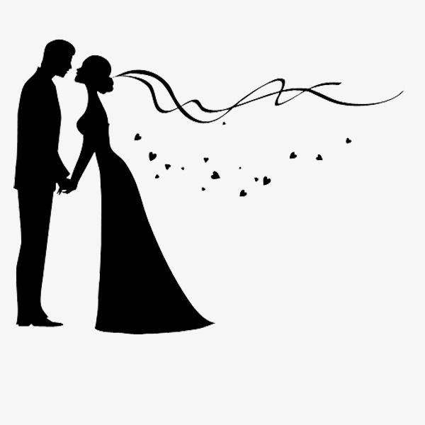 زوجين العروس أسود كرتون Png وملف Psd للتحميل مجانا Wedding Drawing Silhouette Art Wedding Silhouette
