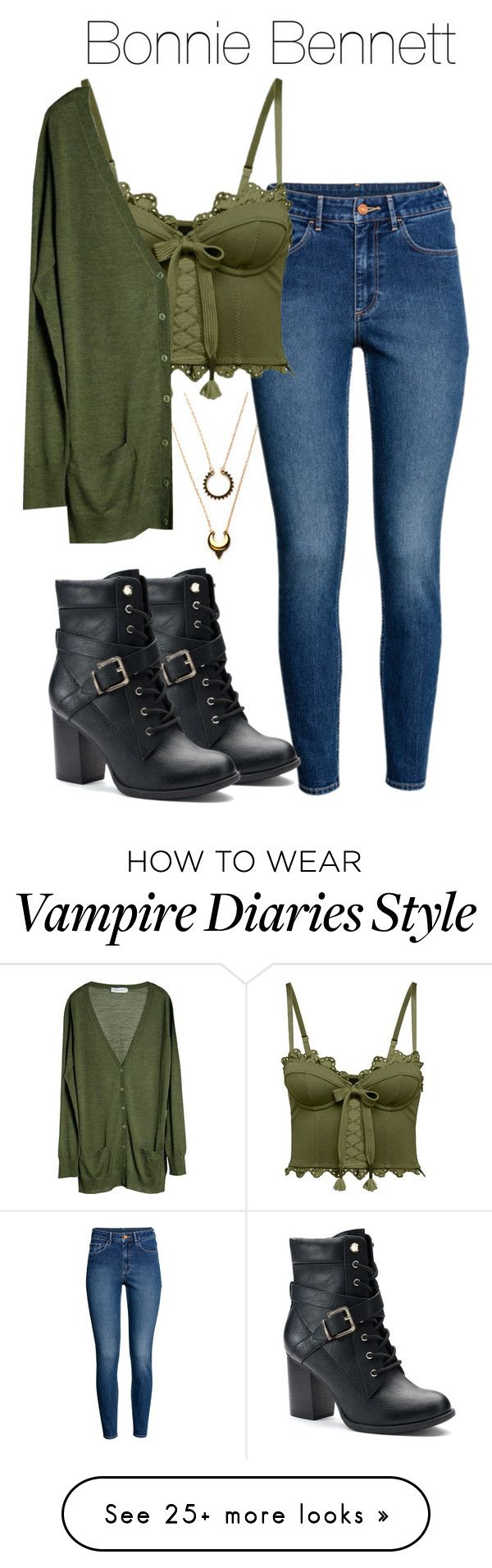 """Bonnie Bennett - tvd / the vampire diaries"" by shadyannon on Polyvore featuring WithChic, H&M, Puma, Apt. 9 and Månestråle"