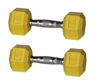 York Barbell Color Coded Rubber Hex Dumbbells  9 lbs Yellow Pair  Commercial Rubber Hex Dumbbells for Strength Training  Rubber Coated Aerobic Hex Dumbbells for Group Exercise ** Click image for more details.