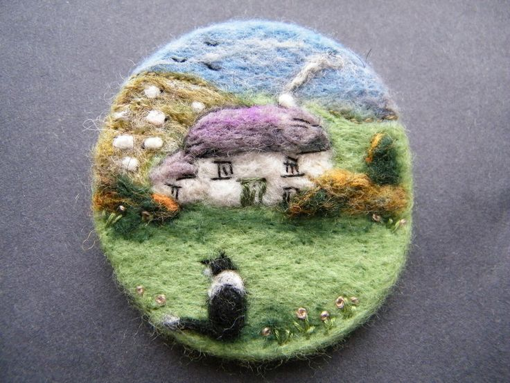 Handmade Needle felted Brooch Home Sweet Home, Gwen by Tracey Dunn