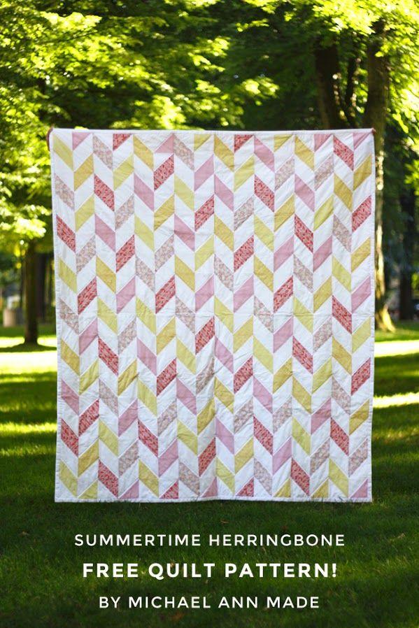 Free Quilt Pattern! - Summertime Herringbone Quilt // Michael Ann Made
