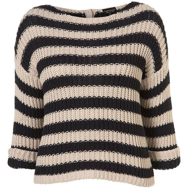 Knitted Chunky Stripe Jumper ($80) ❤ liked on Polyvore featuring tops, sweaters, jumpers, shirts, stripe, women, jumpers sweaters, striped top, striped sweater and stripe top