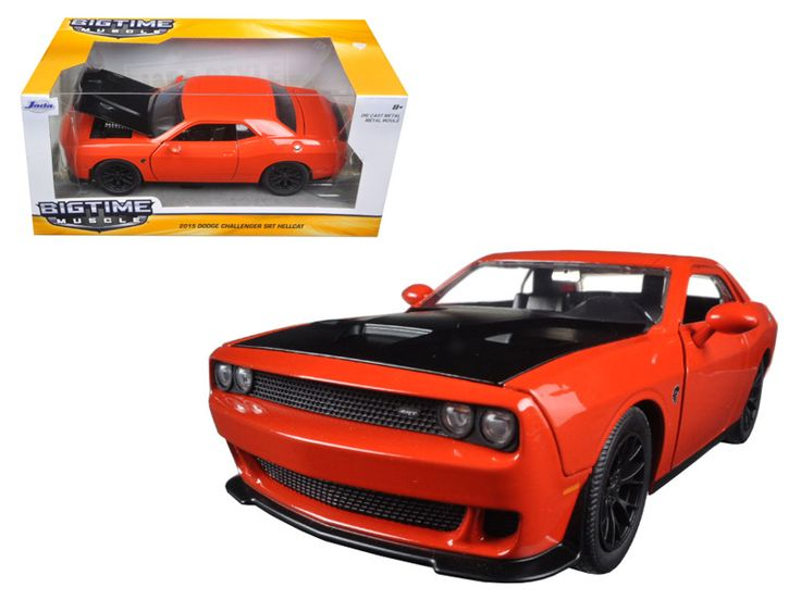 2015 Dodge Challenger SRT Hellcat Orange 1/24 Diecast Model Car by Jada - Brand new 1:24 scale diecast model car of 2015 Dodge Challenger SRT Hellcat Orange die cast car model by Jada. Rubber tires. Brand new box. Detailed interior, exterior. Made of diecast with some plastic parts. Has opening hood, doors and trunk. Dimensions approximately L-8, W-3.75, H-3.25 inches. Please note that manufacturer may change packing box at anytime. Product will stay exactly the same.-Weight: 2. Height: 6…