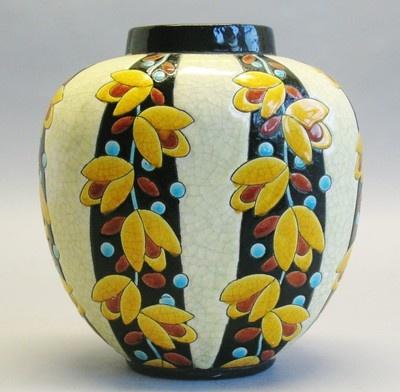 Superb Boch Freres Keramis Belgian Art Deco Pottery Vase  c. 1915  MINT