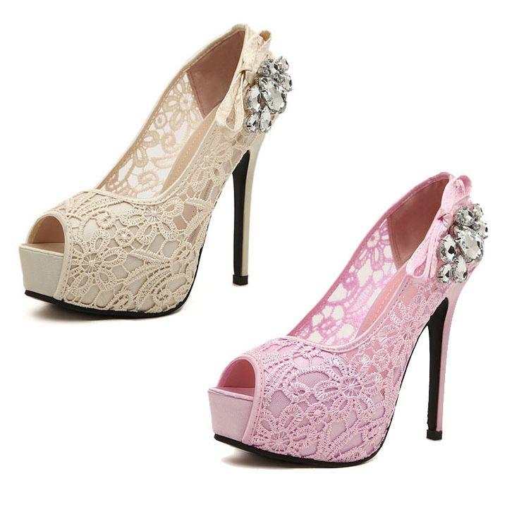 2015 кружева высокий каблук туфли на платформе женщина пальца ноги щели женщин туфли на высоком каблуке кристалл сексуальная высокие каблуки обуви женские на лето chaussure роковой, принадлежащий категории Обувь на платформе и относящийся к Обувь на сайте AliExpress.com   Alibaba Group