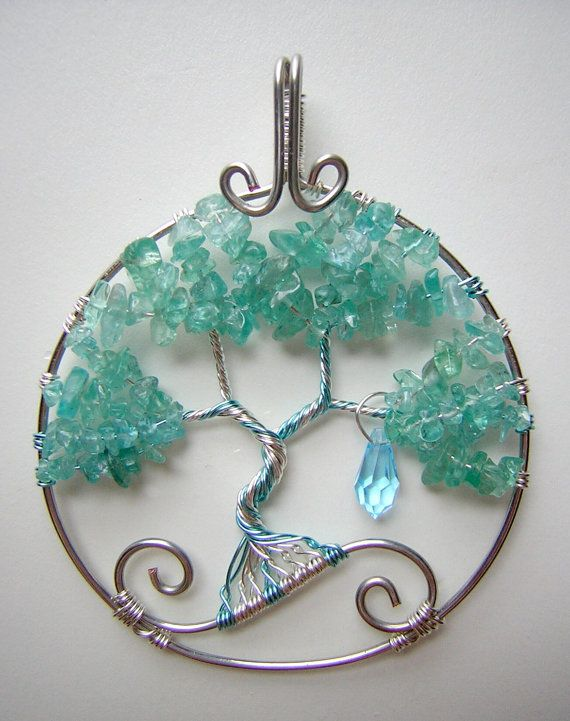 Yui's Heart Sword Art Online Themed Tree of Life Wire Wrapped Pendant with Apatite and Swarovski Crystal Jewelry