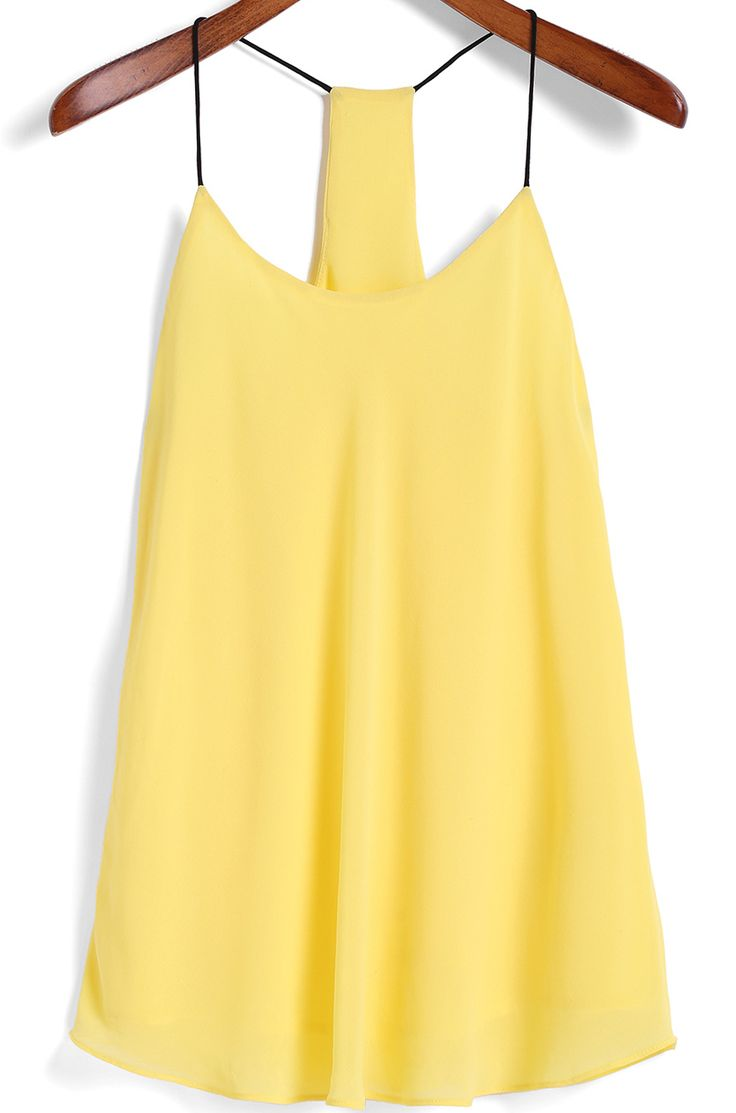 Spaghetti Strap Yellow Cami Top