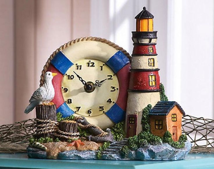 Lighthouse Nautical Bathroom Accessories: Nautical Lighthouse Theme Home Decor Collections Clock