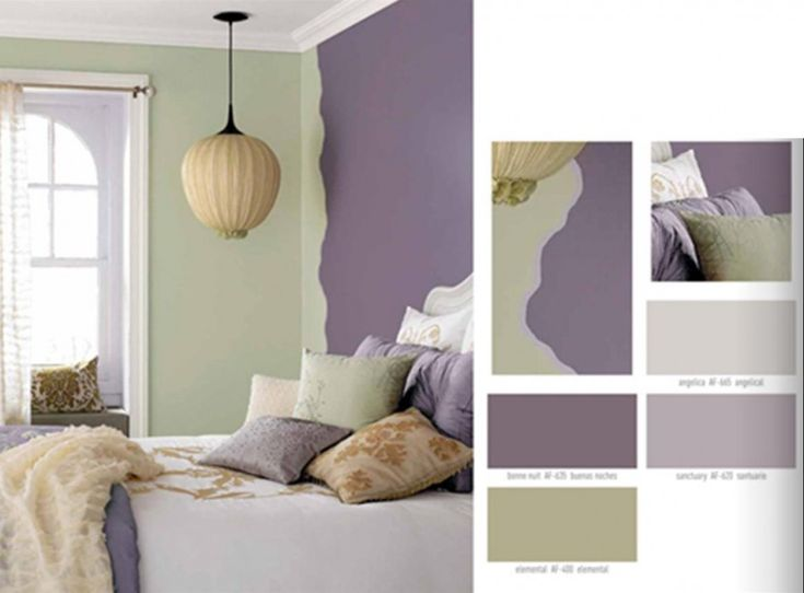 Amazing Green And Purple Color Scheme Interior Decorating Idea For Bedroom  With Green Purple Wall, Brown Chandelier, Purple Brown Bed Cover,. Awesome Design