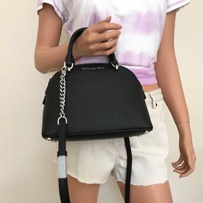 4057cdb1207b7a NWT Michael Kors Emmy Small Black Saffiano Leather Dome Satchel Crossbody  Bag