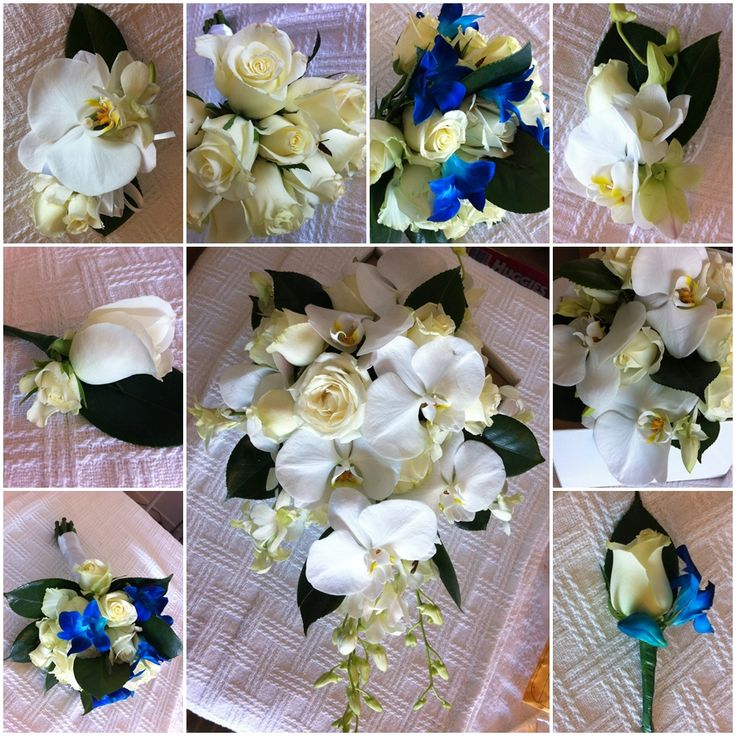 Phalaenopsis Orchids White with ivory roses, blue-dyed and white Singapore orchids and camellia leaves Wedding bouquet.