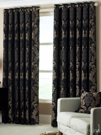 Damask black gold heavy luxury designer eyelet curtain - Black and gold living room curtains ...