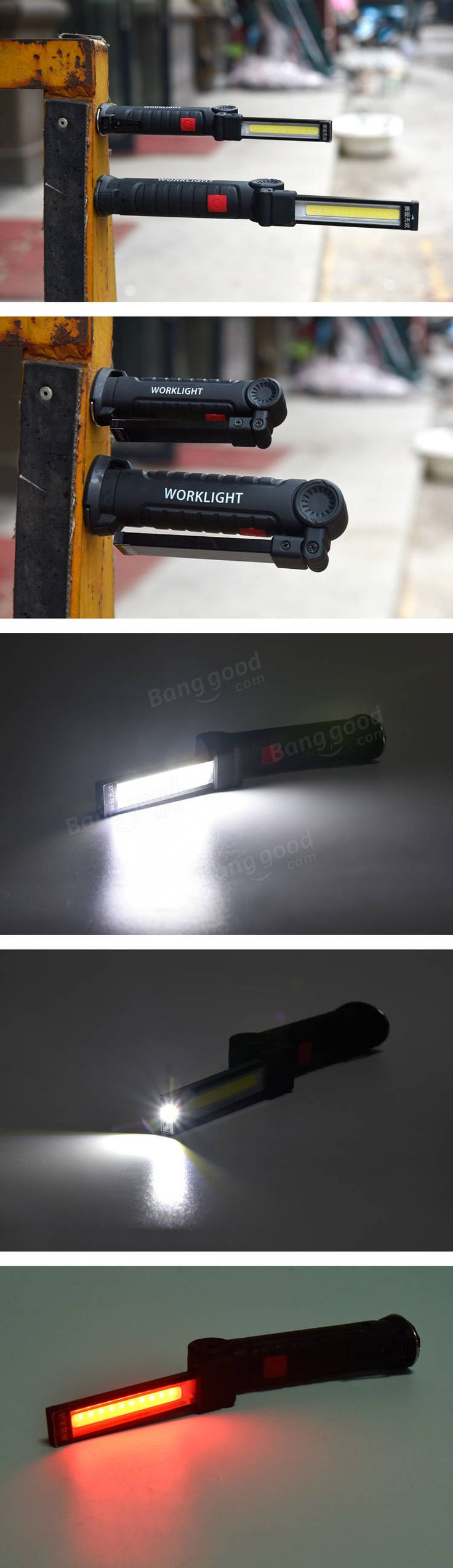 XANES 175B 360Degree Rotation USB Rechargeable COB+LED Emergency Worklight with Magnetic Tail Sale - Banggood.com  #flashlight #light