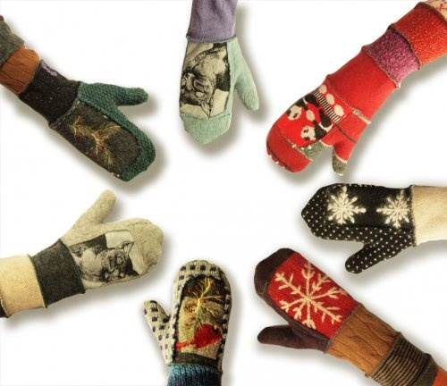 Recycled wool mittens by Susan Harris $34