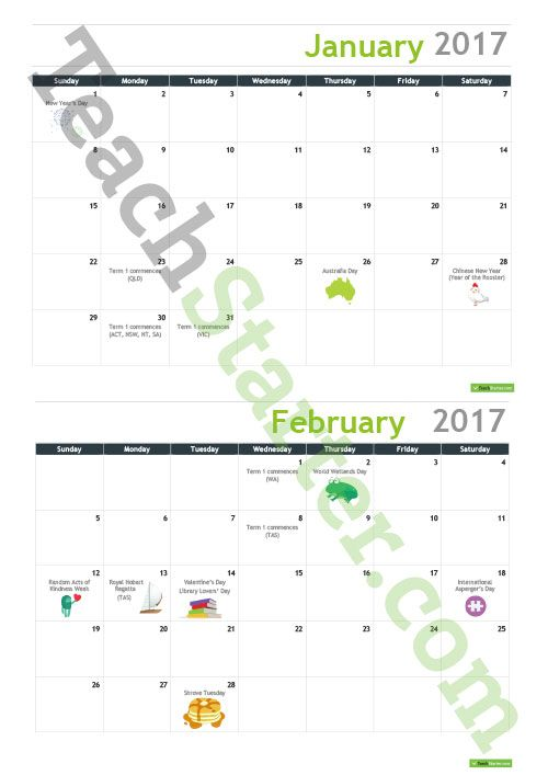 2017 Australian Calendar With Important Dates Teaching Resource