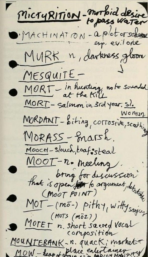 A look inside Nick Cave's diary, where he keep a handwritten dictionary of all of his favourite words.