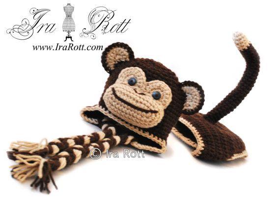 Handmade Crochet Chimpanzee Monkey Hat with Diaper Cover for Newborn Babies