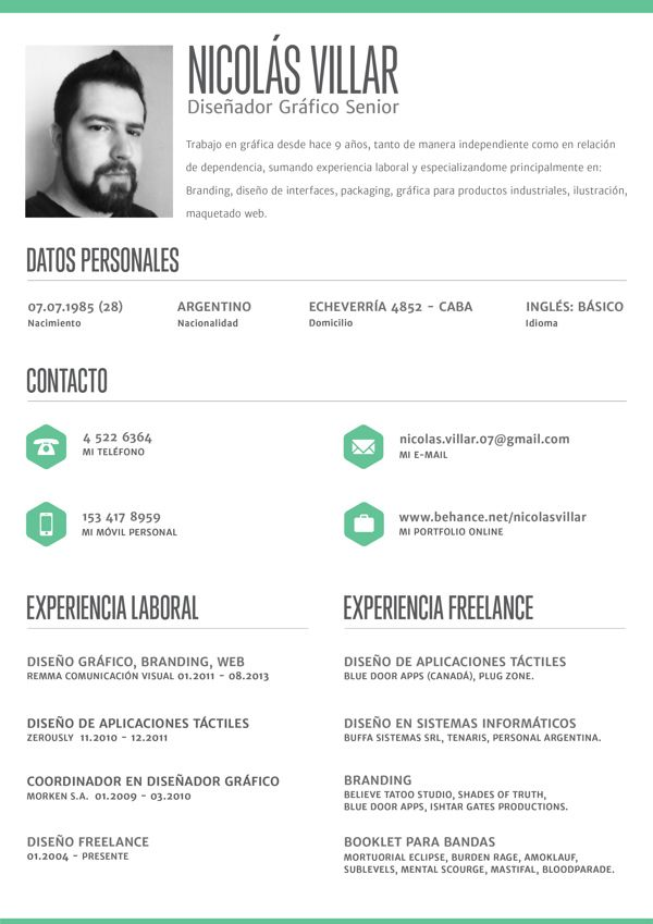 """Clean, crisp resume layout by Nicolás Villar, via Behance. For more great resume ideas search Aaron Sheppard and look at my """"? - Design - Resumes"""" board. Creative Resume Design, Resume Style, Resume Design, Curriculum Vitae, CV, Resume Template, Resumes, Resume Format."""