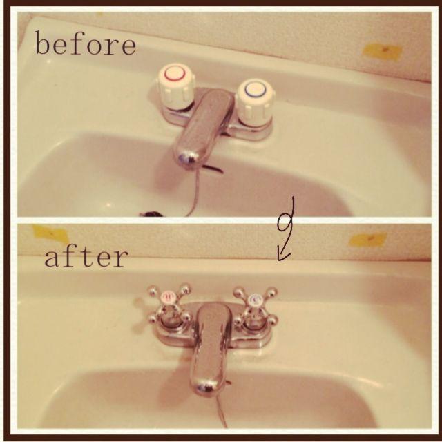 「洗面所」 「蛇口」 「洗面台」 「DIY」 「賃貸」 「Bathroom」 が写っているorcaさんのインテリア実例写真を紹介します。2014-07-30 06:36:42に撮影されました。