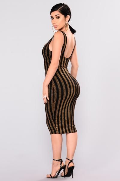 Feast Stripped Dress - Black/Gold