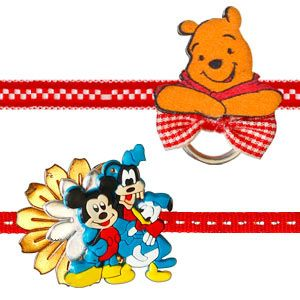 Kids Rakhi - Set of 2 :Surprise your brother and send all your wishes with their most favorite & popular Disney cartoon characters - Mickey Mouse & his friends & Winnie the Pooh. Costs Rs 378/- http://www.tajonline.com/rakhi-gifts/product/rdr67/kids-rakhi-set-of-2/?aff=pinterest2013/