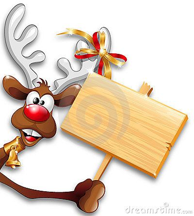 Funny Reindeer Cartoon with a Wooden Panel Background